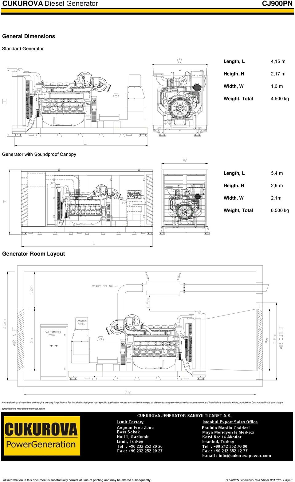 500 kg L Generator Room Layout 2m 2,5m 3,5m 0,5m 1,2m 7m Above drawings dimensions and weights are only for guidence.