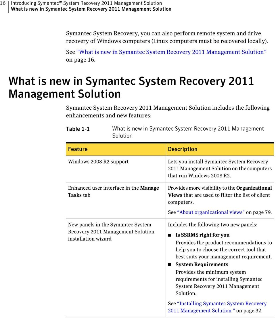 What is new in Symantec System Recovery 2011 Management Solution Symantec System Recovery 2011 Management Solution includes the following enhancements and new features: Table 1-1 Feature What is new