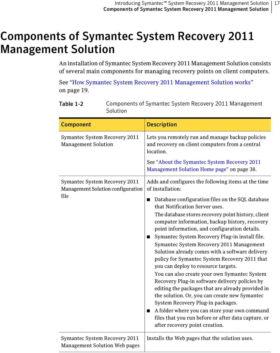 See How Symantec System Recovery 2011 Management Solution works on page 19.