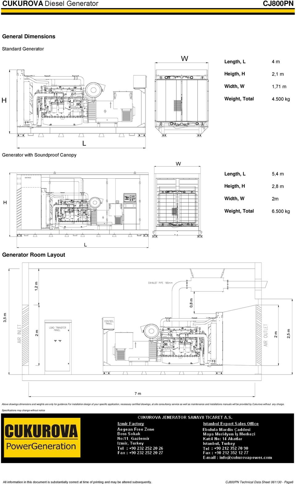 500 kg L Generator Room Layout 3,5 m 2 m 1,2 m 0,8 m 2 m 2,5 m 7 m Above drawings dimensions and weights are only for guidence.