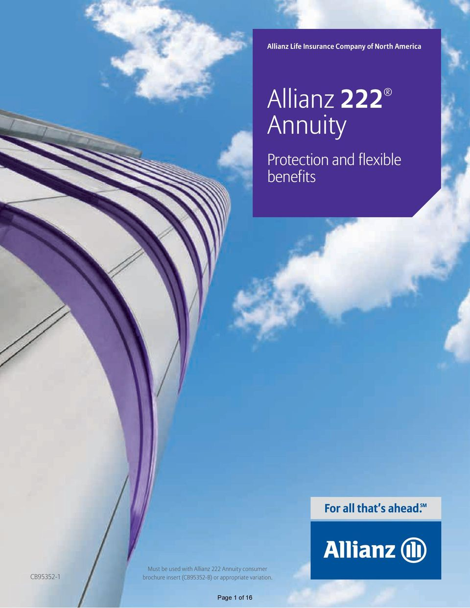 Must be used with Allianz 222 Annuity consumer brochure