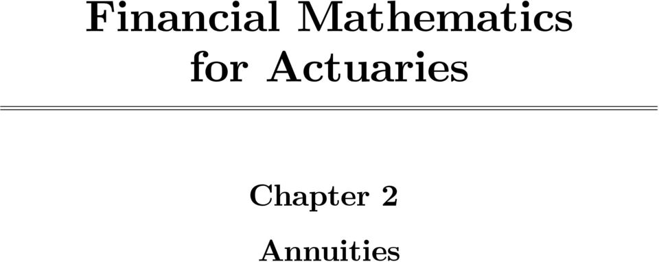 for Actuaries