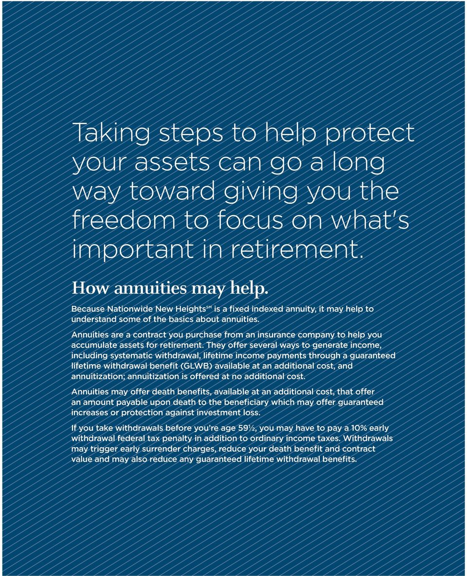 Annuities are a contract you purchase from an insurance company to help you accumulate assets for retirement.