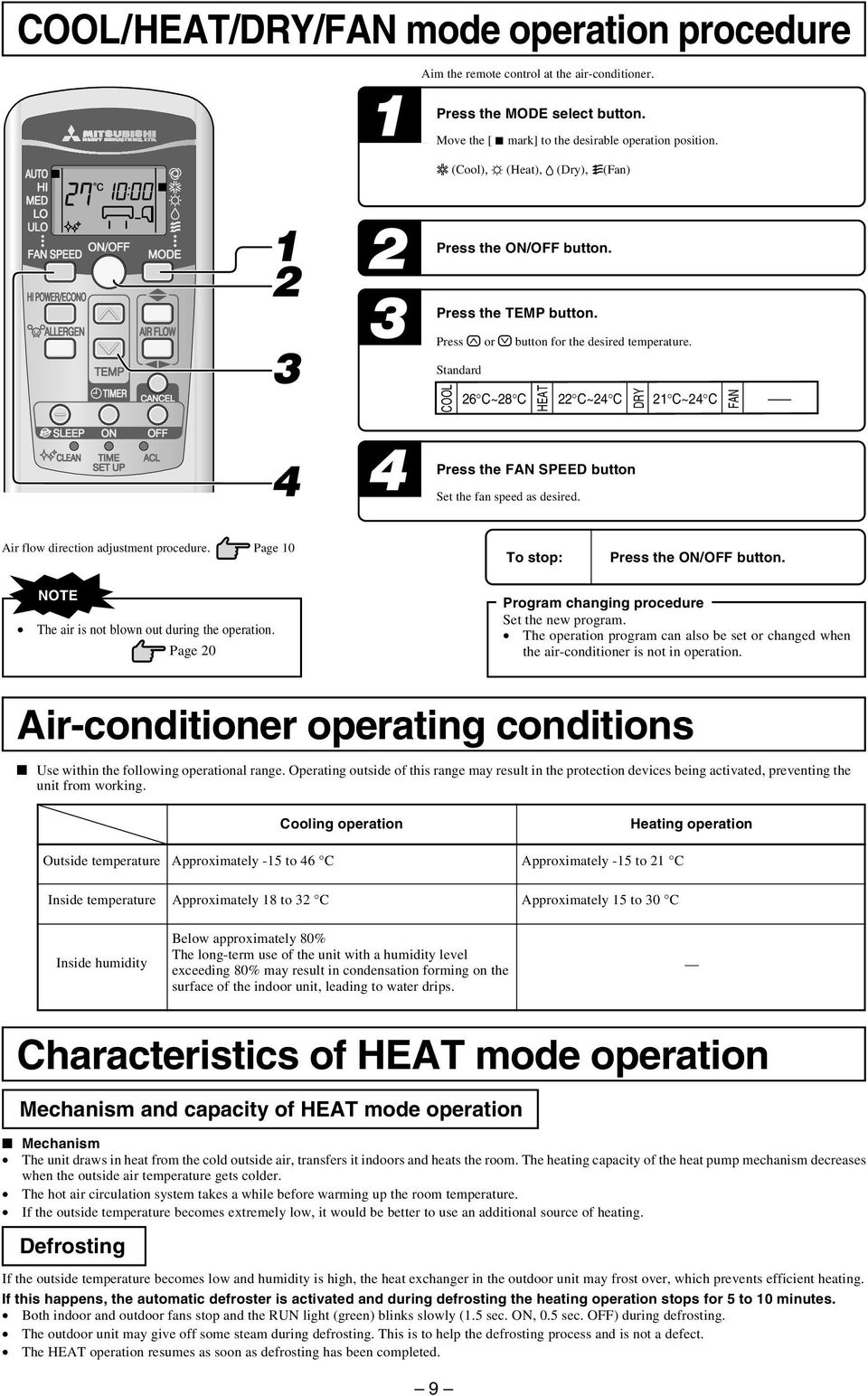 Standard COOL 26 C~28 C HEAT 22 C~24 C DRY Press the FAN SPEED button Set the fan speed as desired. 2 C~24 C FAN Air flow direction adjustment procedure. Page 0 To stop: Press the ON/OFF button.