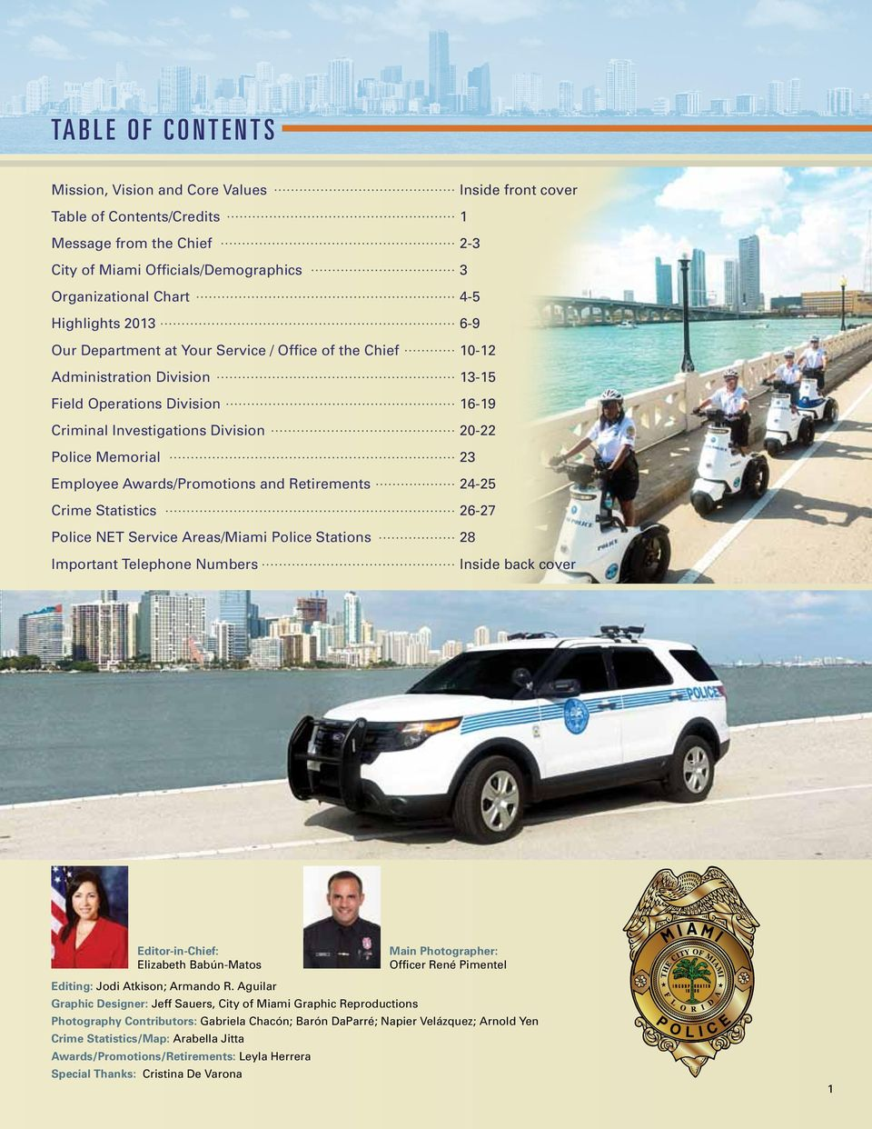 Service Areas/Miami Police Stations Important Telephone Numbers Inside front cover 1 2-3 3 4-5 6-9 10-12 13-15 16-19 20-22 23 24-25 26-27 28 Inside back cover Editor-in-Chief: Elizabeth Babún-Matos