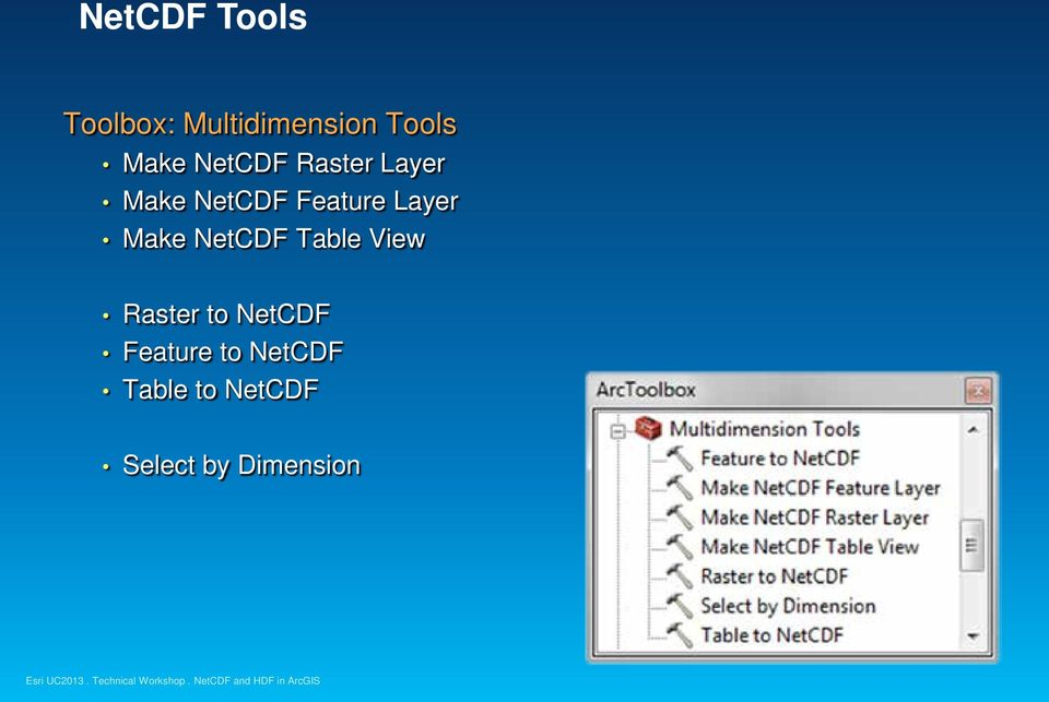 Layer Make NetCDF Table View Raster to NetCDF