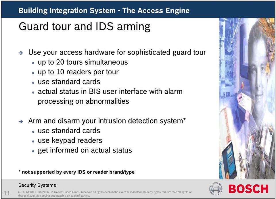 alarm processing on abnormalities Arm and disarm your intrusion detection system* use standard