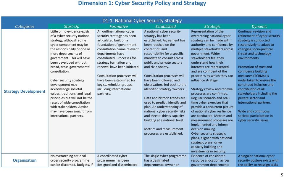 Cyber security strategy development may acknowledge societal values, traditions, and legal principles but will not be the result of wide consultation with stakeholders.