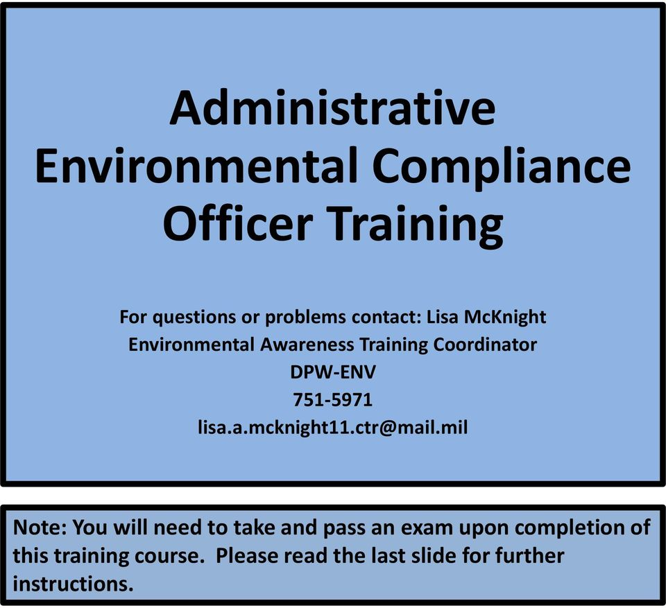 Administrative environmental compliance officer training pdf - Qualifications for compliance officer ...