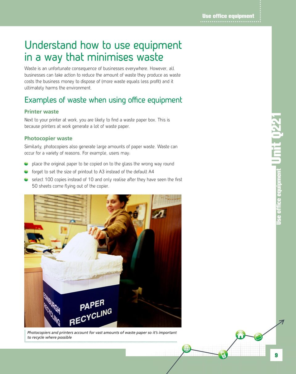 environment. Examples of waste when using office equipment Printer waste Next to your printer at work, you are likely to find a waste paper box.