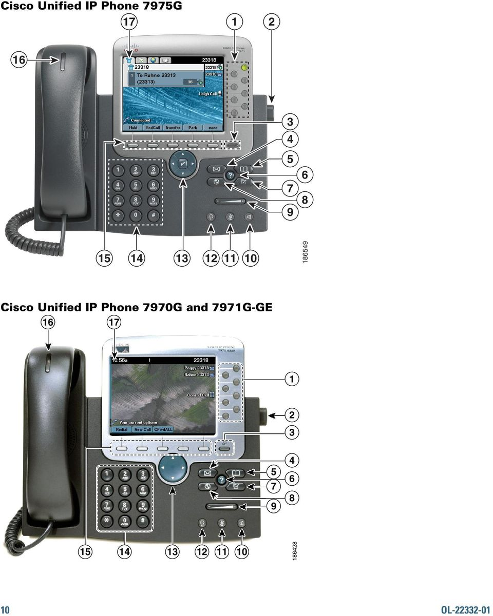 Unified IP Phone 7970G and 7971G-GE 16 17 1 2
