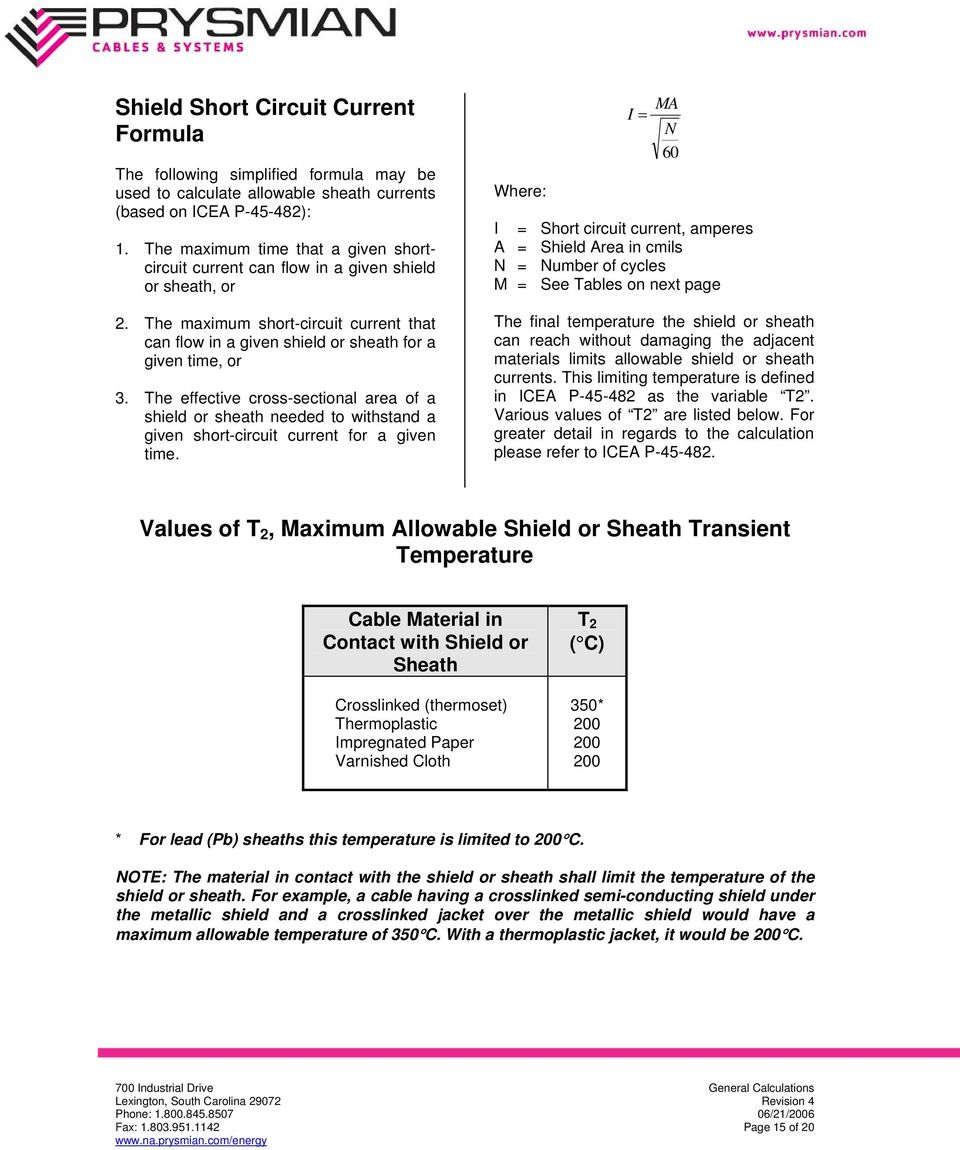 General calculations excerpt from prysmian s wire and cable the effective cross sectional area of a shield or sheath needed to withstand a given greentooth Gallery