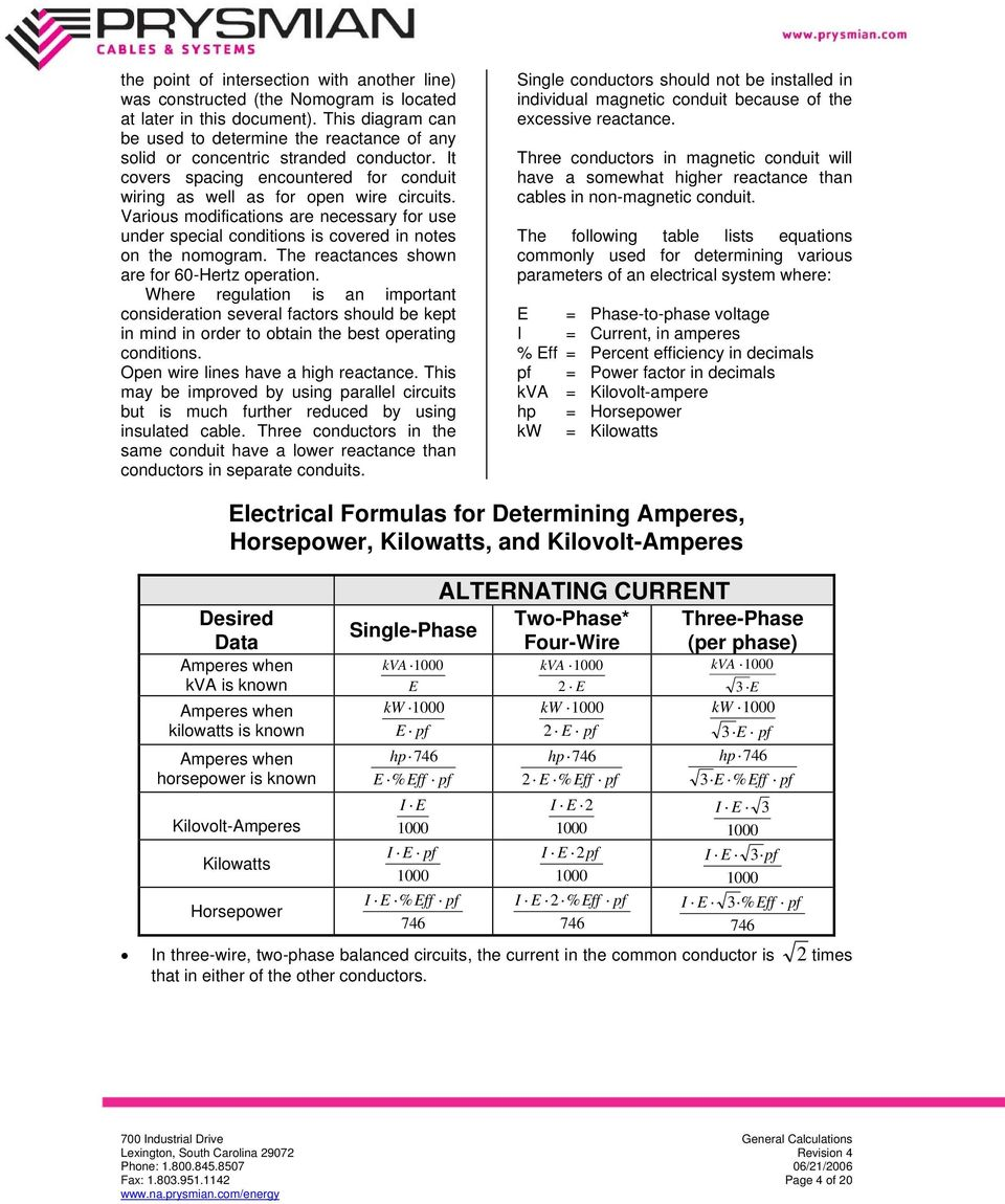 General calculations excerpt from prysmian s wire and cable various modifications are necessary for use under special conditions is covered in notes on the nomogram greentooth Gallery