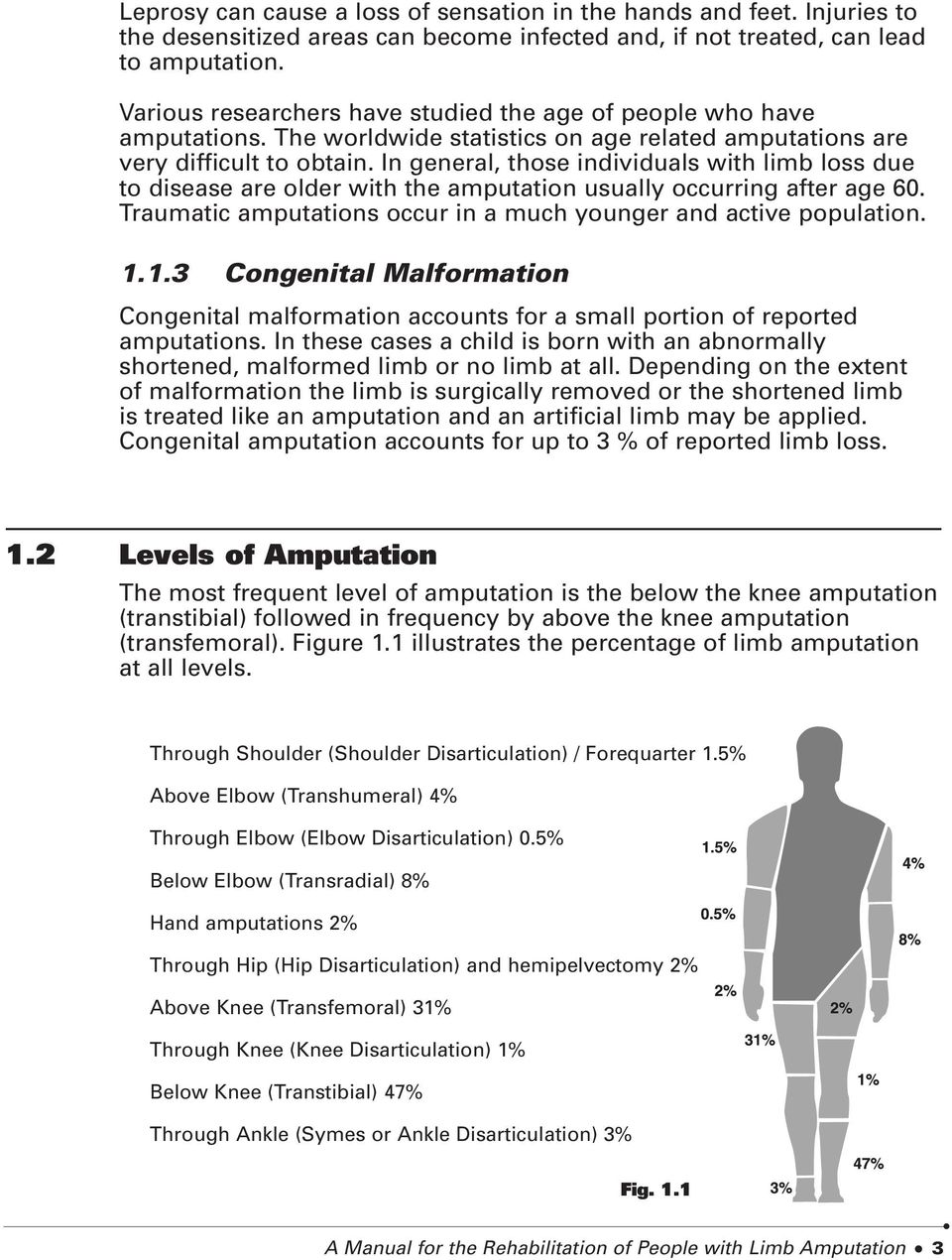In general, those individuals with limb loss due to disease are older with the amputation usually occurring after age 60. Traumatic amputations occur in a much younger and active population. 1.
