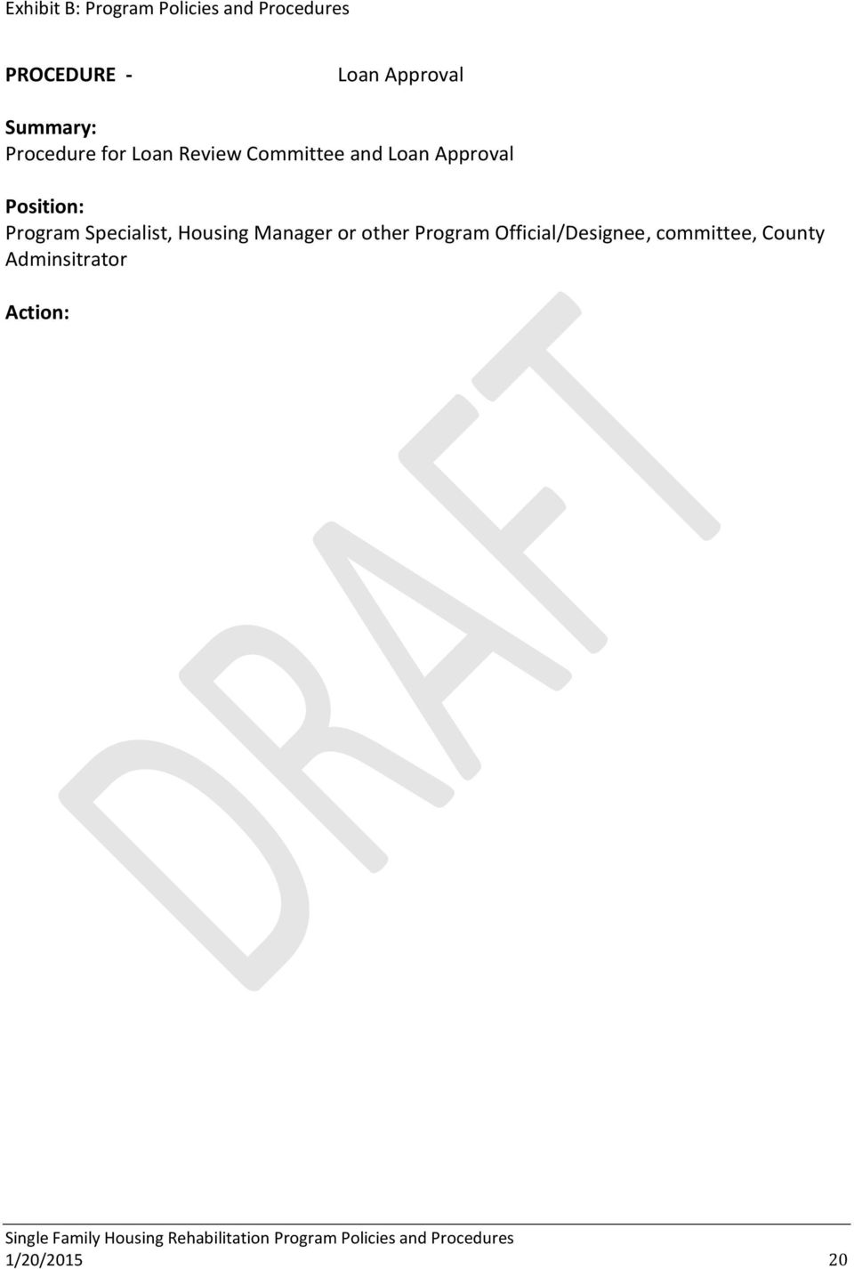 Specialist, Housing Manager or other Program