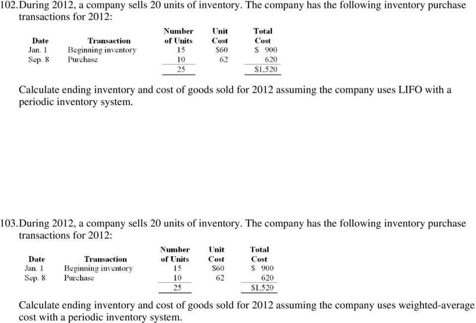 2012 assuming the company uses LIFO with a periodic inventory system. 103.During 2012, a company sells 20 units of inventory.