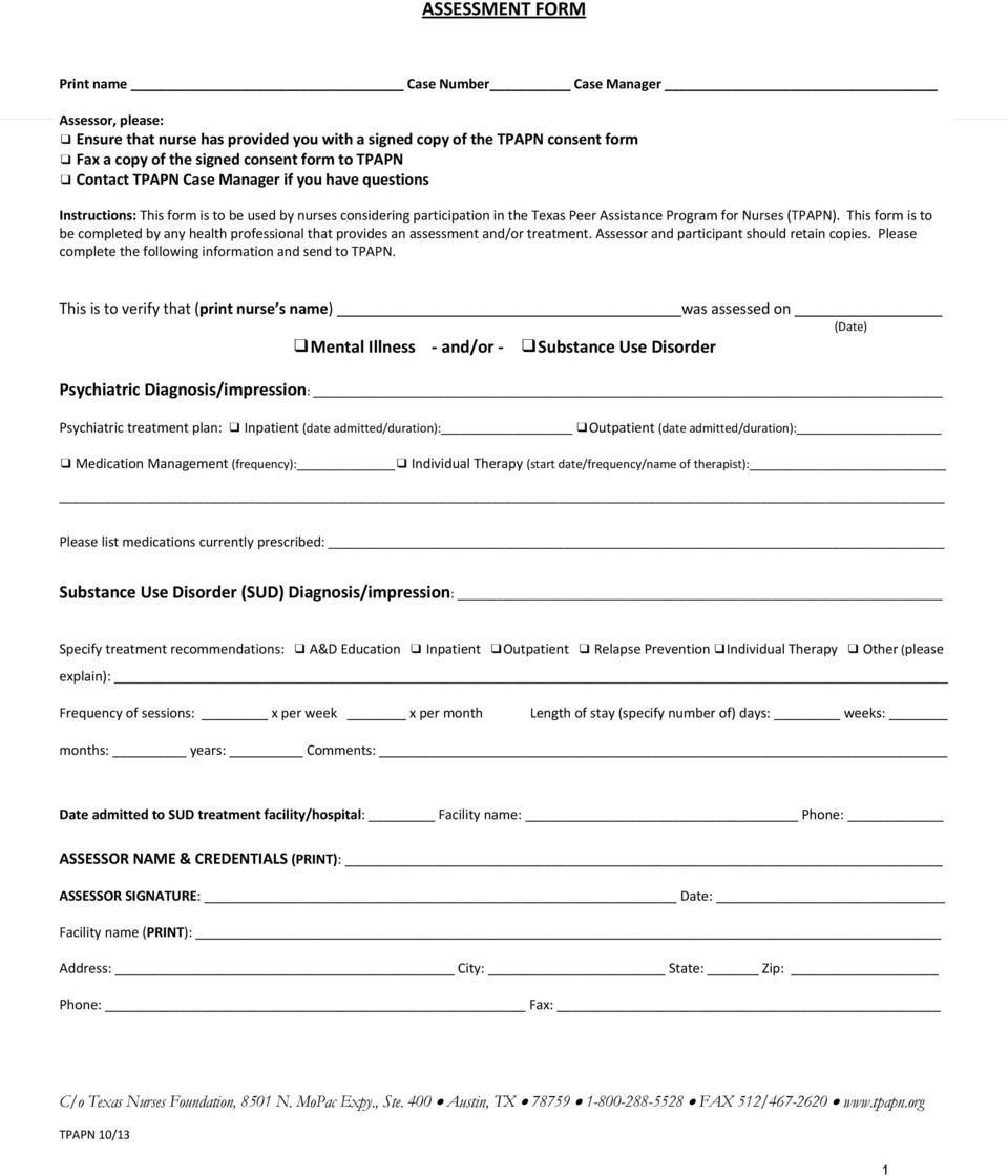 This form is to be completed by any health professional that provides an assessment and/or treatment. Assessor and participant should retain copies.