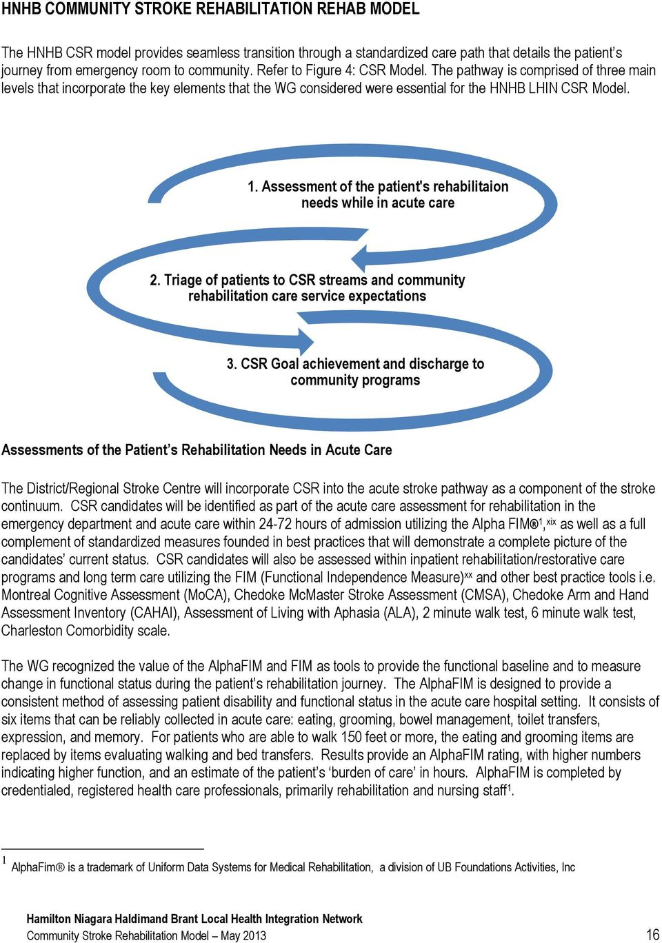 Assessment of the patient's rehabilitaion needs while in acute care 2. Triage of patients to CSR streams and community rehabilitation care service expectations 3.