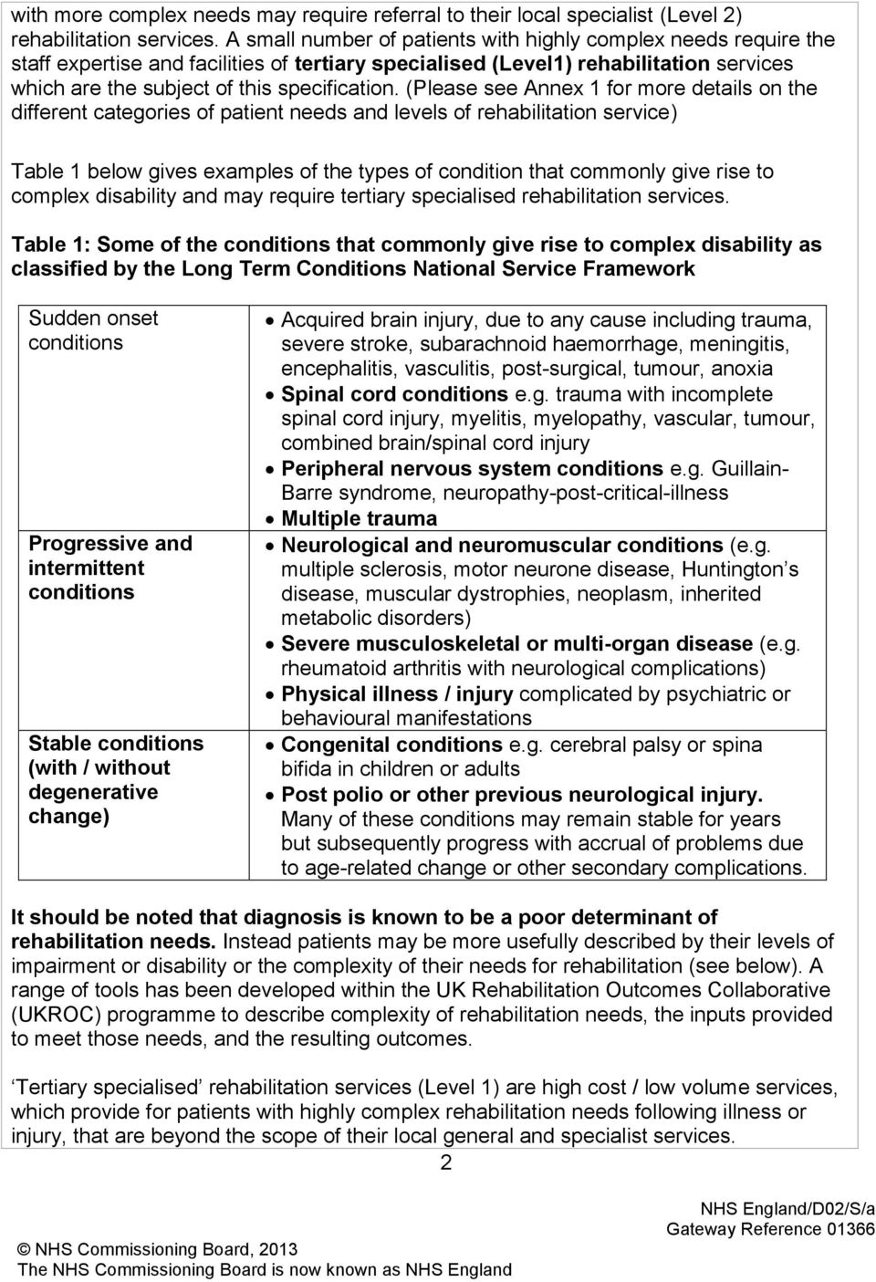 (Please see Annex 1 for more details on the different categories of patient needs and levels of rehabilitation service) Table 1 below gives examples of the types of condition that commonly give rise