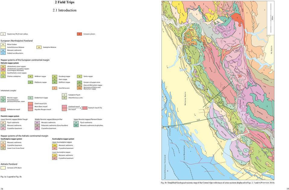2-1 Q Quaternary fill of main valleys CP Cenozoic pluton Insubric Fault European (Northalpine) Foreland RG Rhine Graben Autochthonous Molasse EM Mesozoic sediments FJ Folded Jura Mountains SM