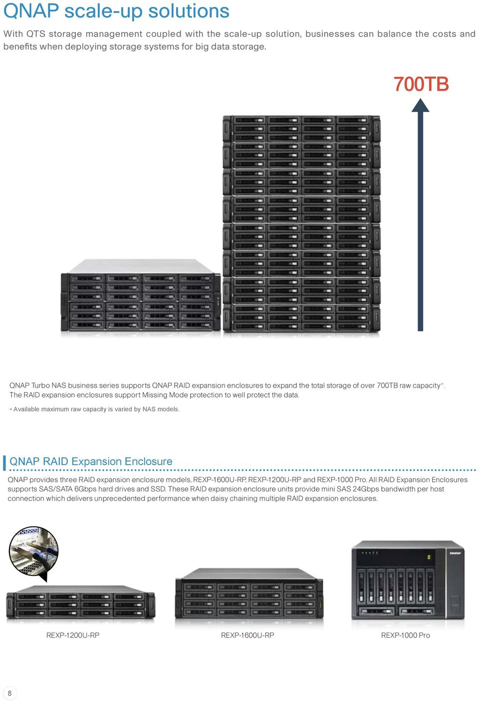 The RAID expansion enclosures support Missing Mode protection to well protect the data. * Available maximum raw capacity is varied by NAS models.