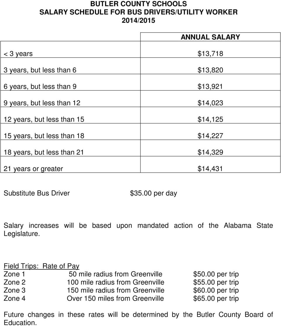 00 per day Salary increases will be based upon mandated action of the Alabama State Legislature. Field Trips: Rate of Pay Zone 1 50 mile radius from Greenville $50.