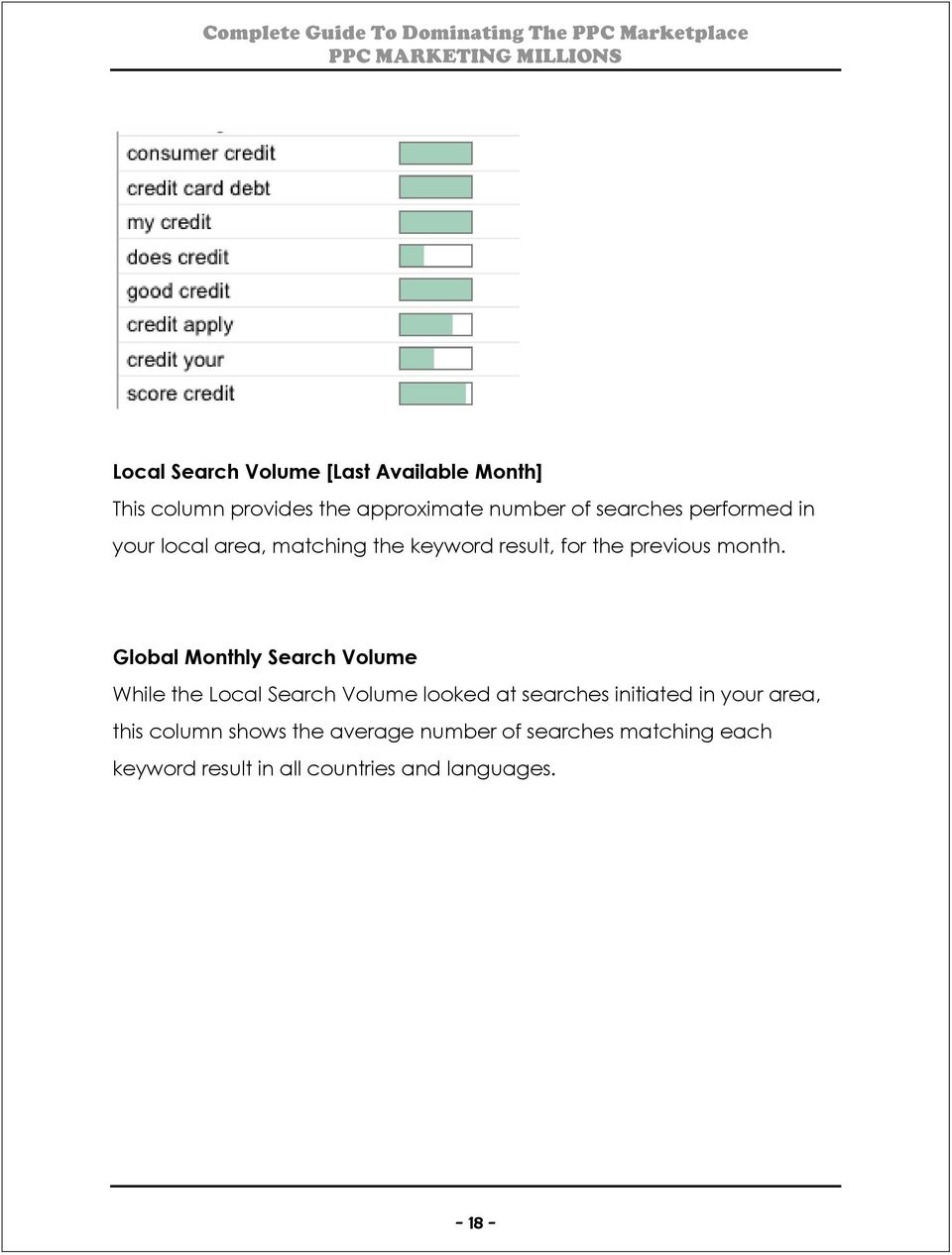 Global Monthly Search Volume While the Local Search Volume looked at searches initiated in your