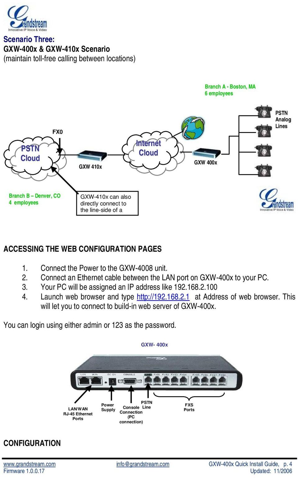 Connect an Ethernet cable between the LAN port on GXW-400x to your PC. 3. Your PC will be assigned an IP address like 192.168.2.100 4. Launch web browser and type http://192.168.2.1 at Address of web browser.