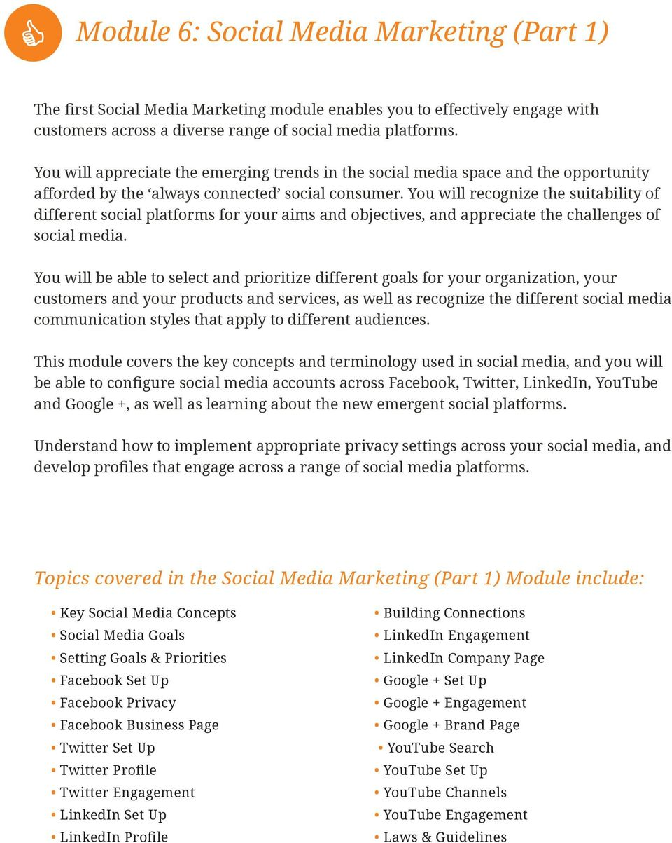 first Social Media Marketing module enables you to effectively engage with customers across a diverse range of social media platforms.