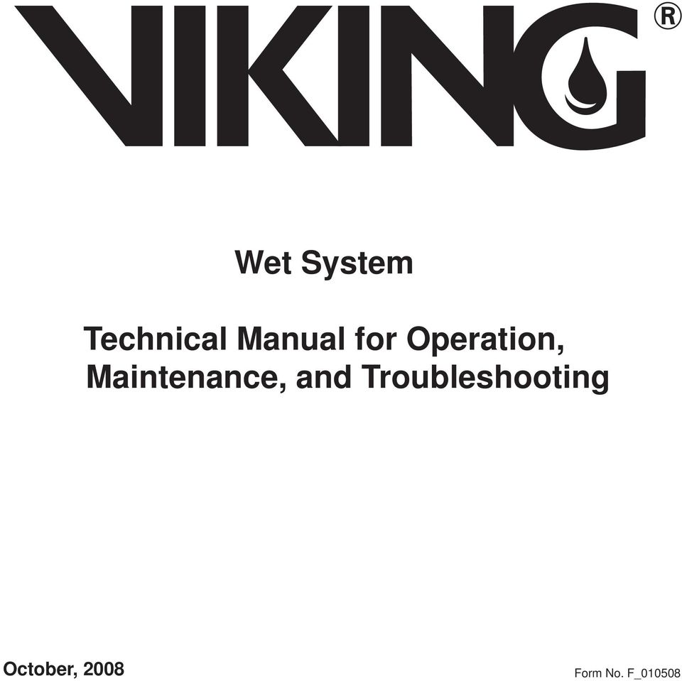 wet system  technical manual for operation  maintenance