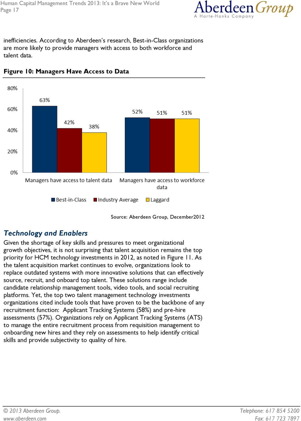 surprising that talent acquisition remains the top priority for HCM technology investments in 2012, as noted in Figure 11.