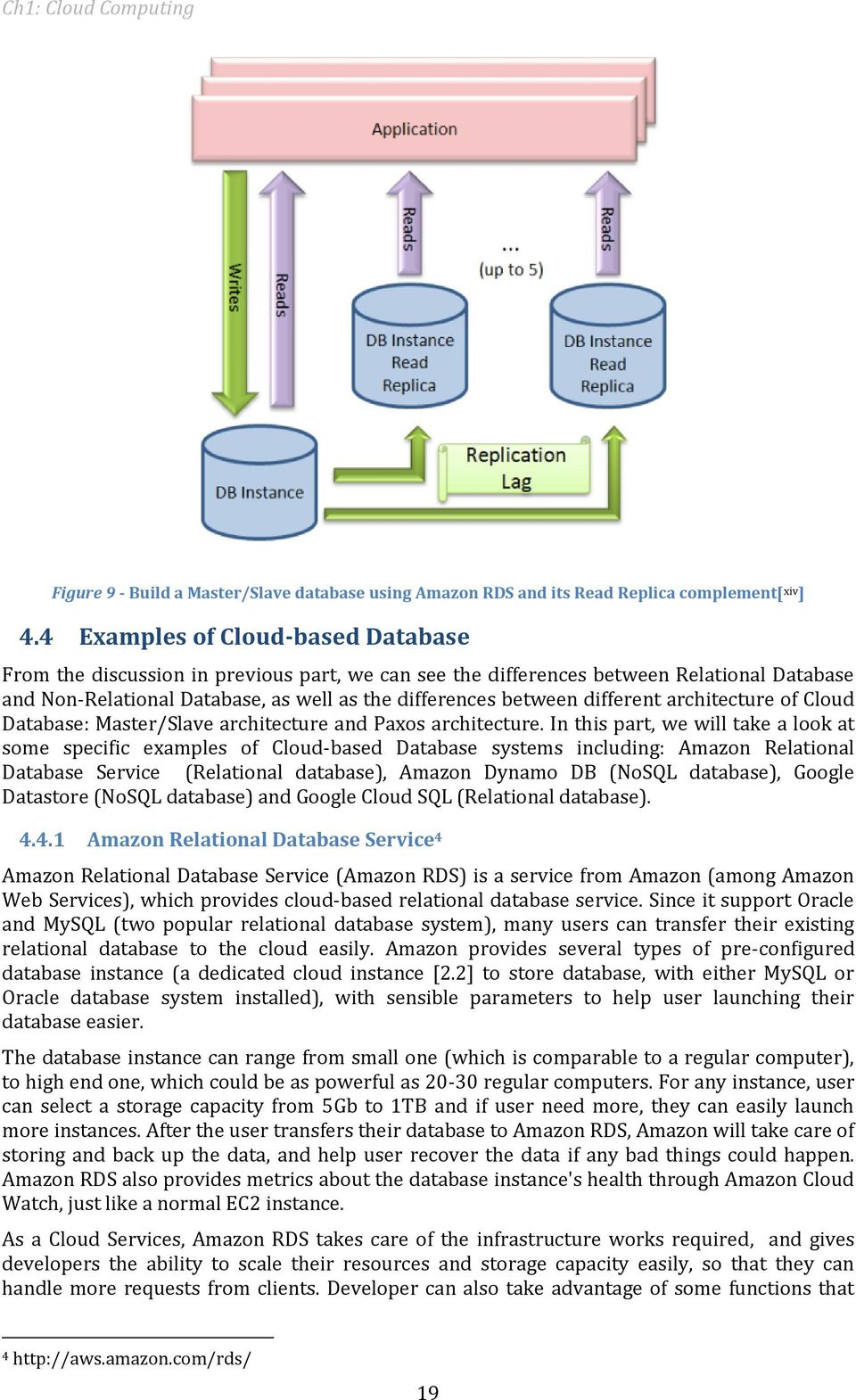 different architecture of Cloud Database: Master/Slave architecture and Paxos architecture.