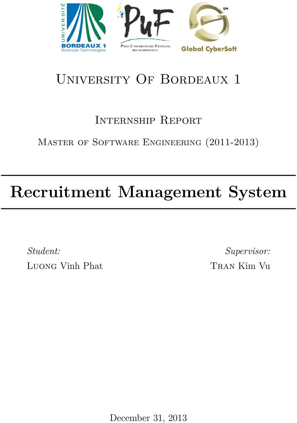 Recruitment Management System Student: Luong