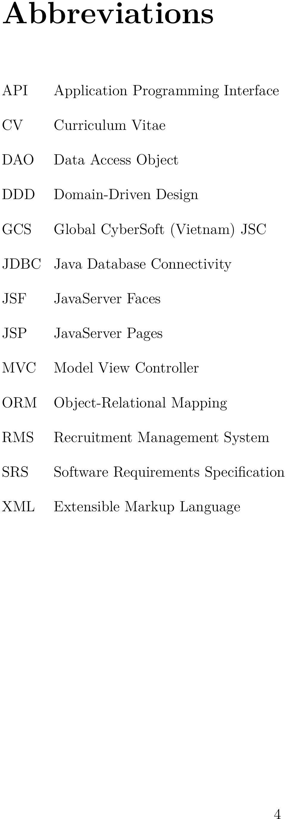 Java Database Connectivity JavaServer Faces JavaServer Pages Model View Controller