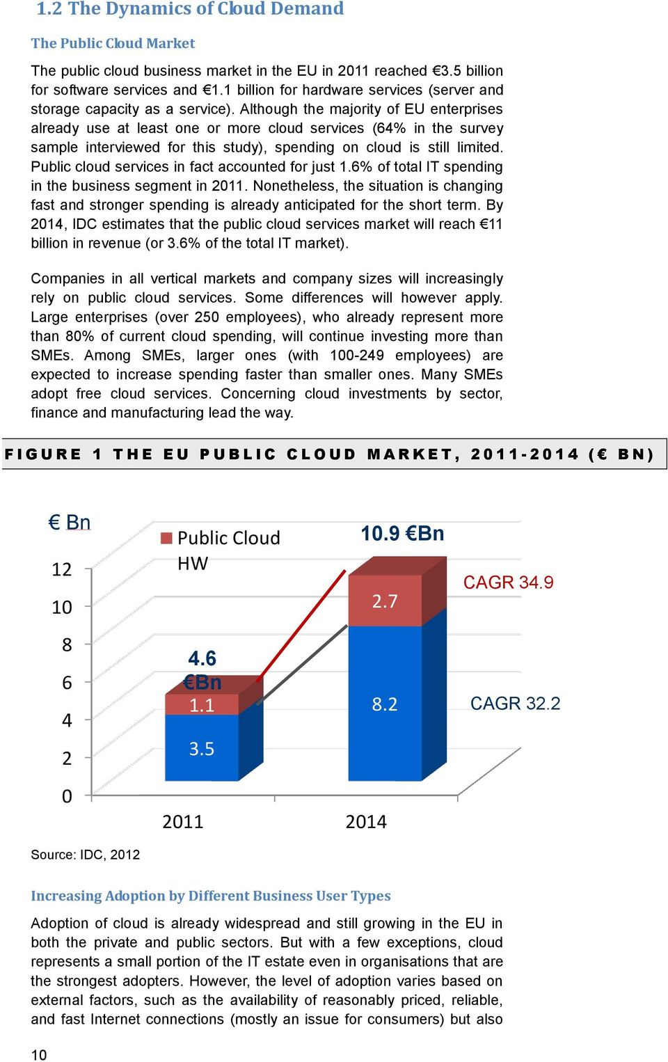 Although the majority of EU enterprises already use at least one or more cloud services (64% in the survey sample interviewed for this study), spending on cloud is still limited.