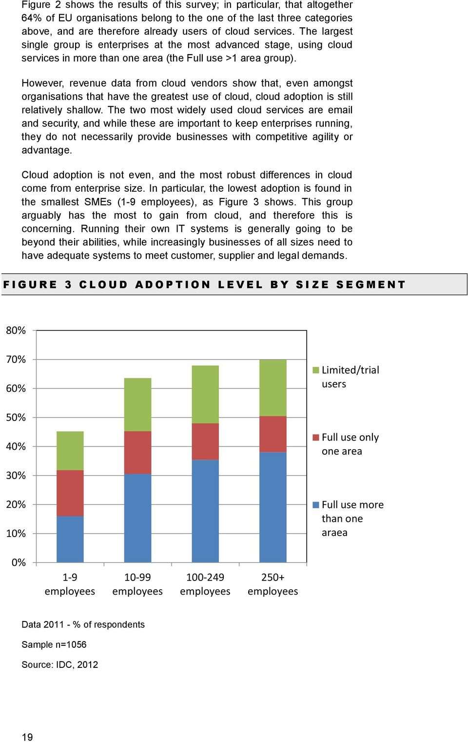 However, revenue data from cloud vendors show that, even amongst organisations that have the greatest use of cloud, cloud adoption is still relatively shallow.