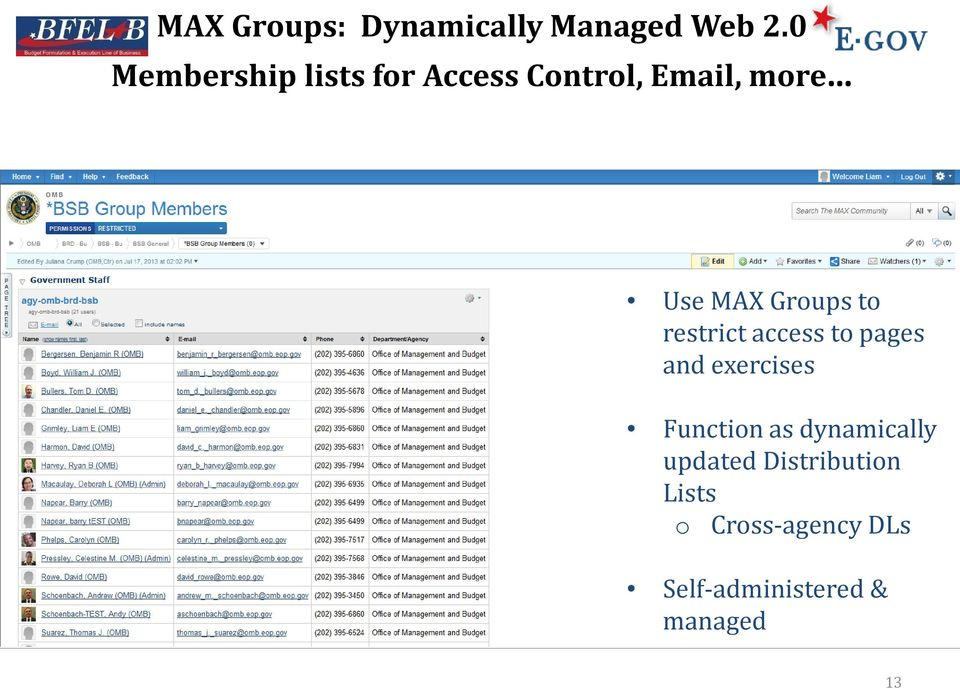 Groups to restrict access to pages and exercises Function as