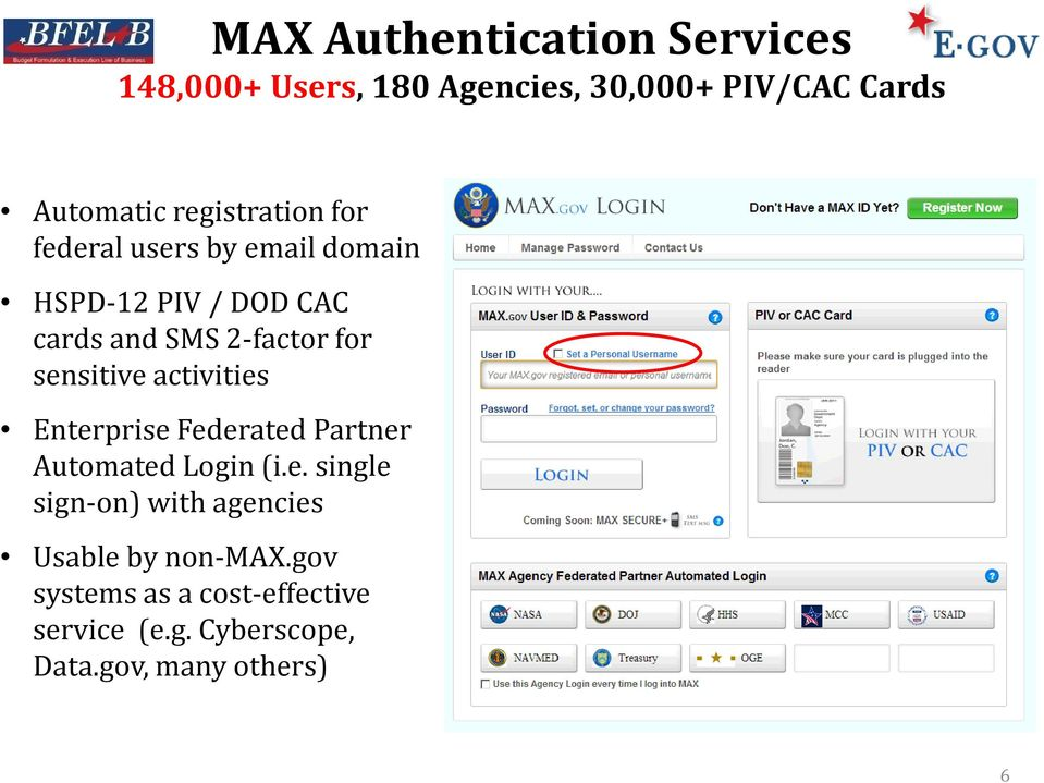 sensitive activities Enterprise Federated Partner Automated Login (i.e. single sign-on) with agencies Usable by non-max.
