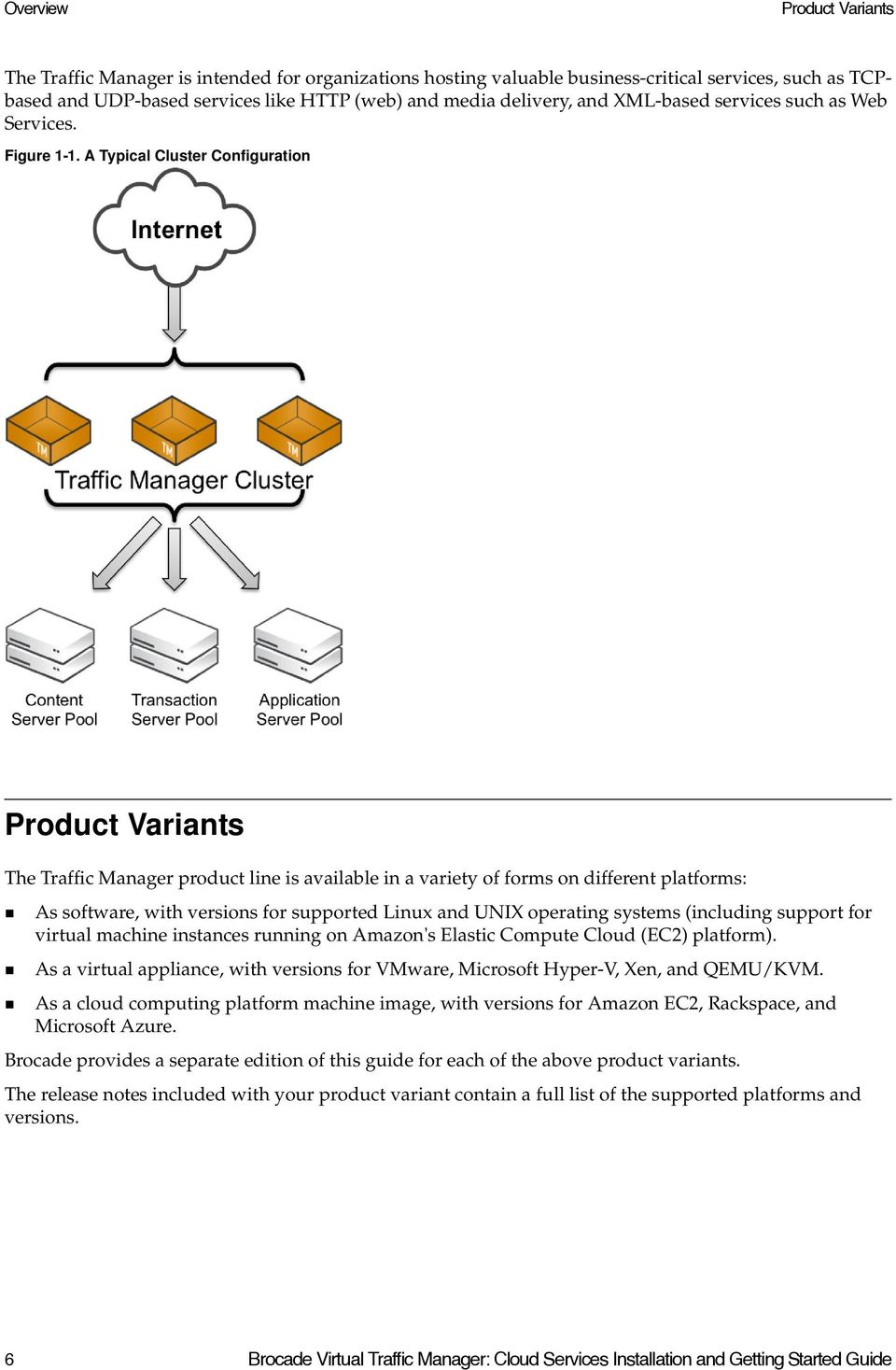 A Typical Cluster Configuration Product Variants The Traffic Manager product line is available in a variety of forms on different platforms: As software, with versions for supported Linux and UNIX