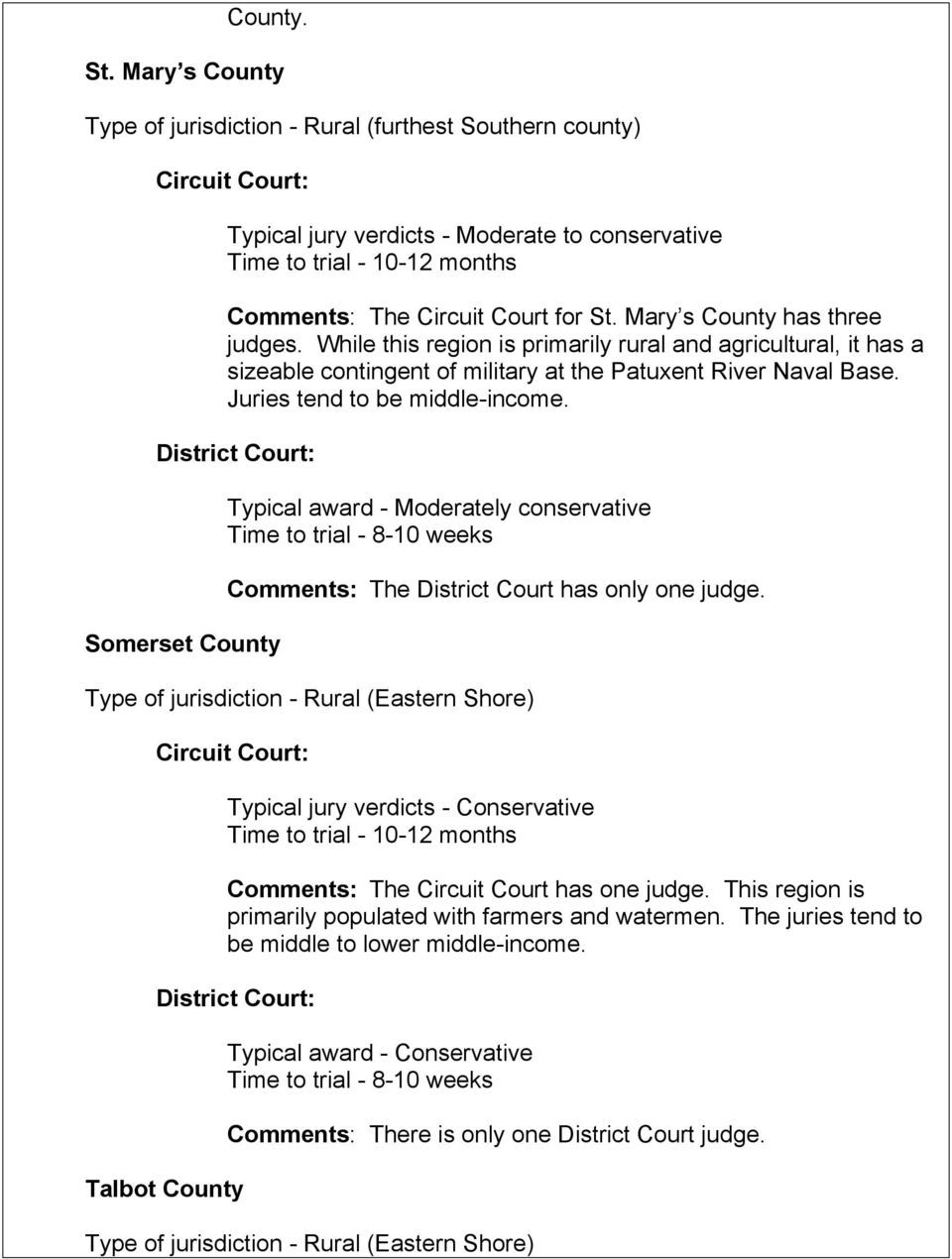 Somerset County Typical award - Moderately conservative Comments: The District Court has only one judge.