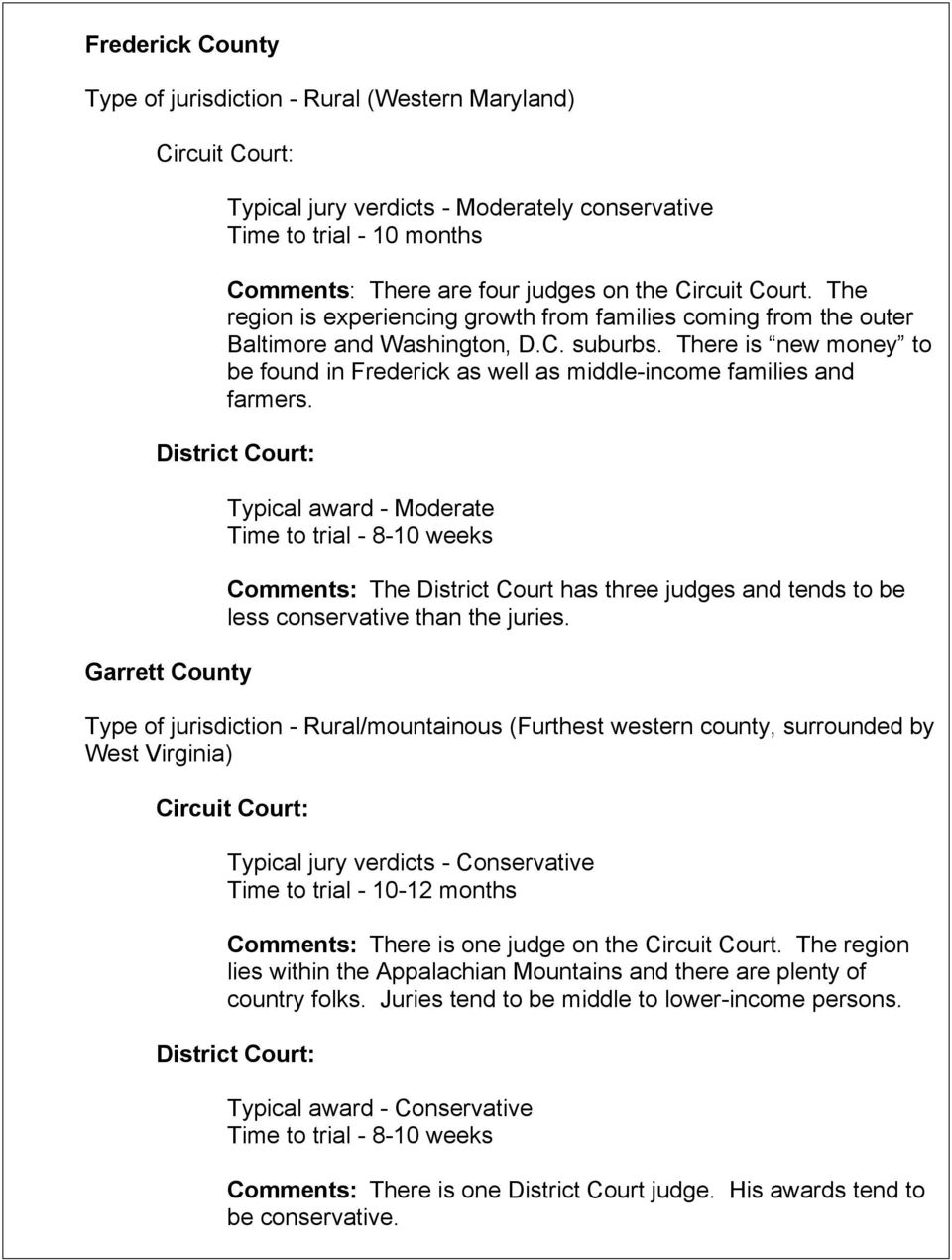 Garrett County Typical award - Moderate Comments: The District Court has three judges and tends to be less conservative than the juries.