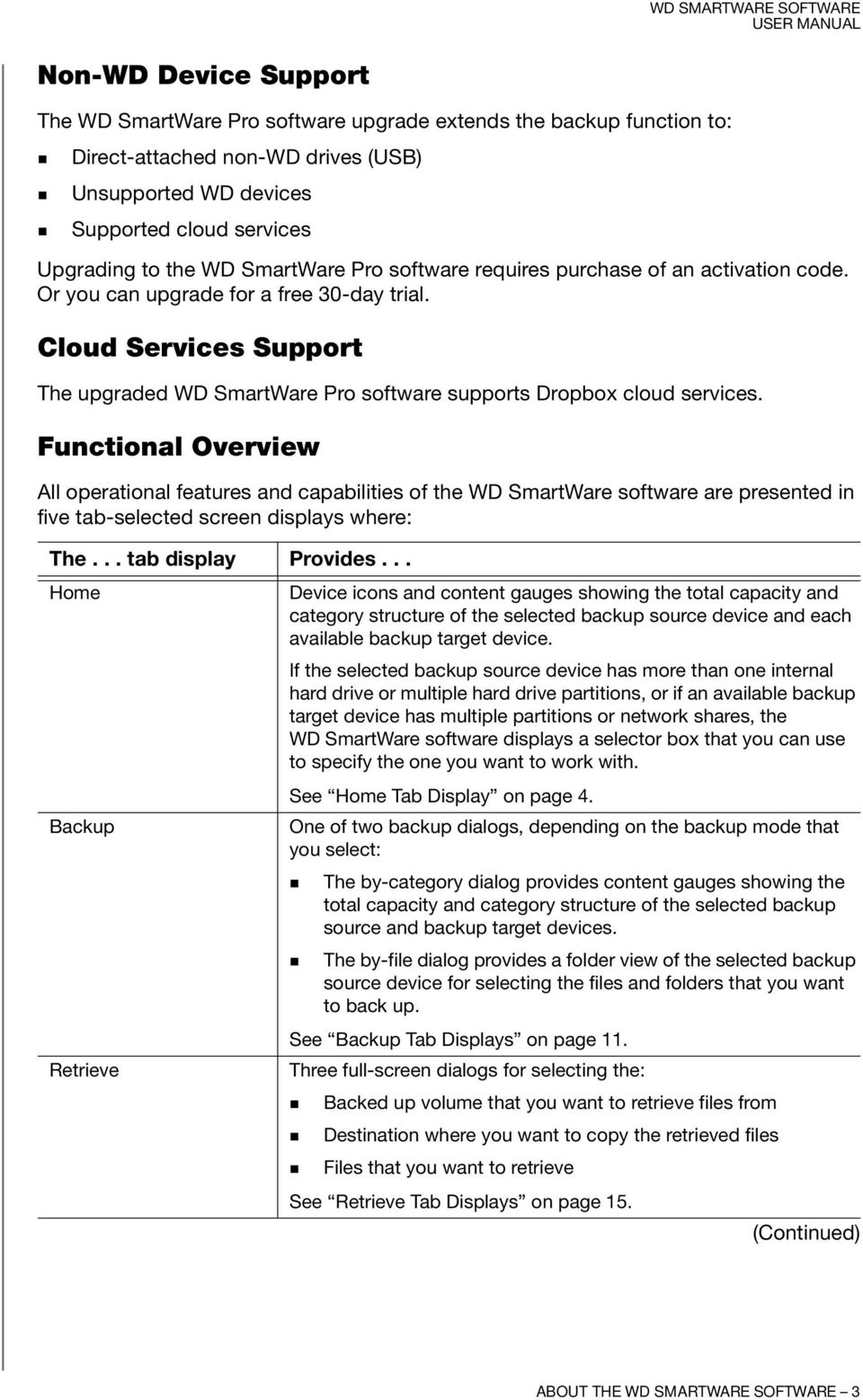 Cloud Services Support The upgraded WD SmartWare Pro software supports Dropbox cloud services.
