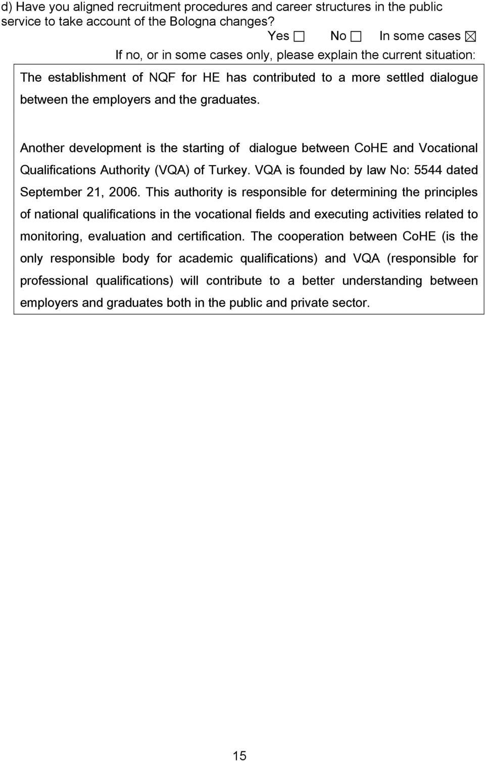 Another development is the starting of dialogue between CoHE and Vocational Qualifications Authority (VQA) of Turkey. VQA is founded by law No: 5544 dated September 21, 2006.