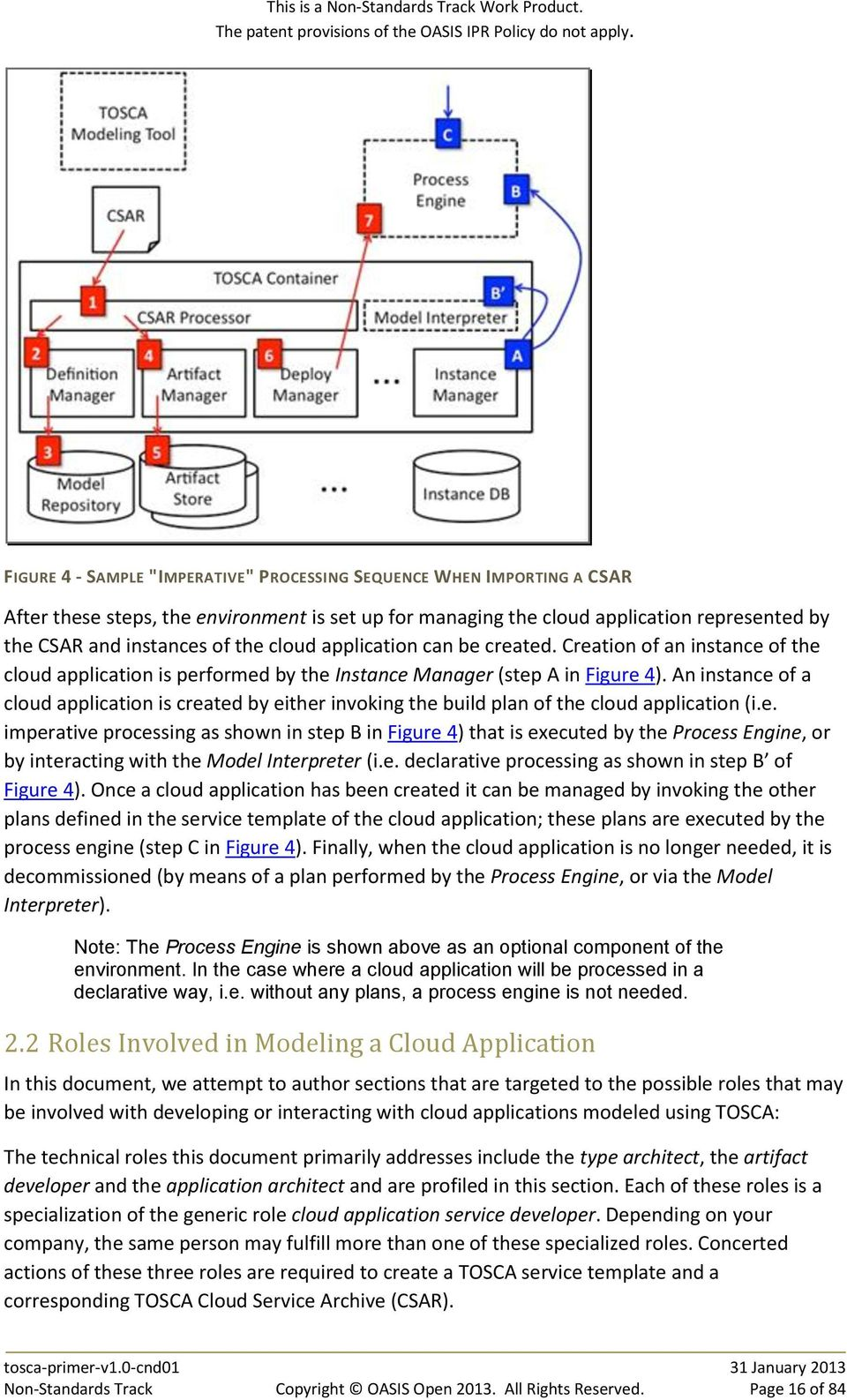 An instance of a cloud application is created by either invoking the build plan of the cloud application (i.e. imperative processing as shown in step B in Figure 4) that is executed by the Process Engine, or by interacting with the Model Interpreter (i.