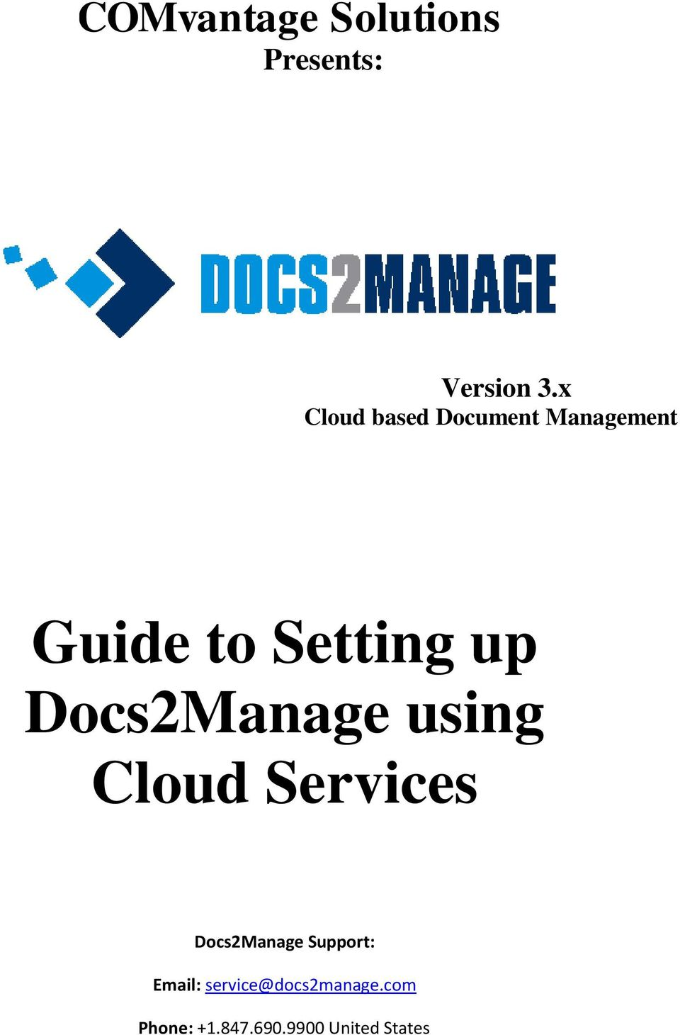 Docs2Manage using Cloud Services Docs2Manage Support: