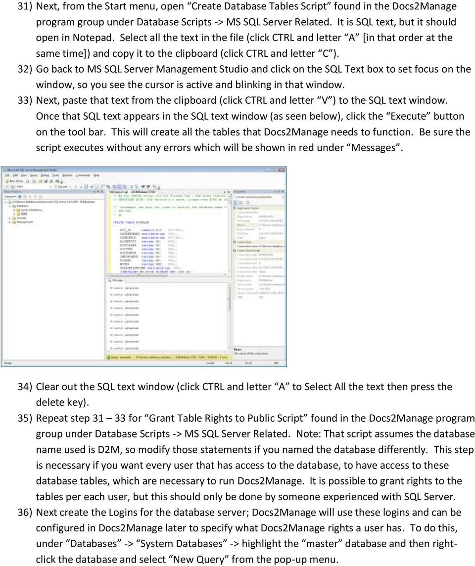 32) Go back to MS SQL Server Management Studio and click on the SQL Text box to set focus on the window, so you see the cursor is active and blinking in that window.