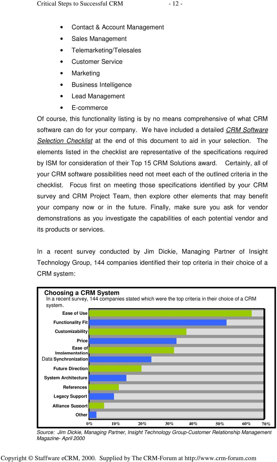 We have included a detailed CRM Software Selection Checklist at the end of this document to aid in your selection.