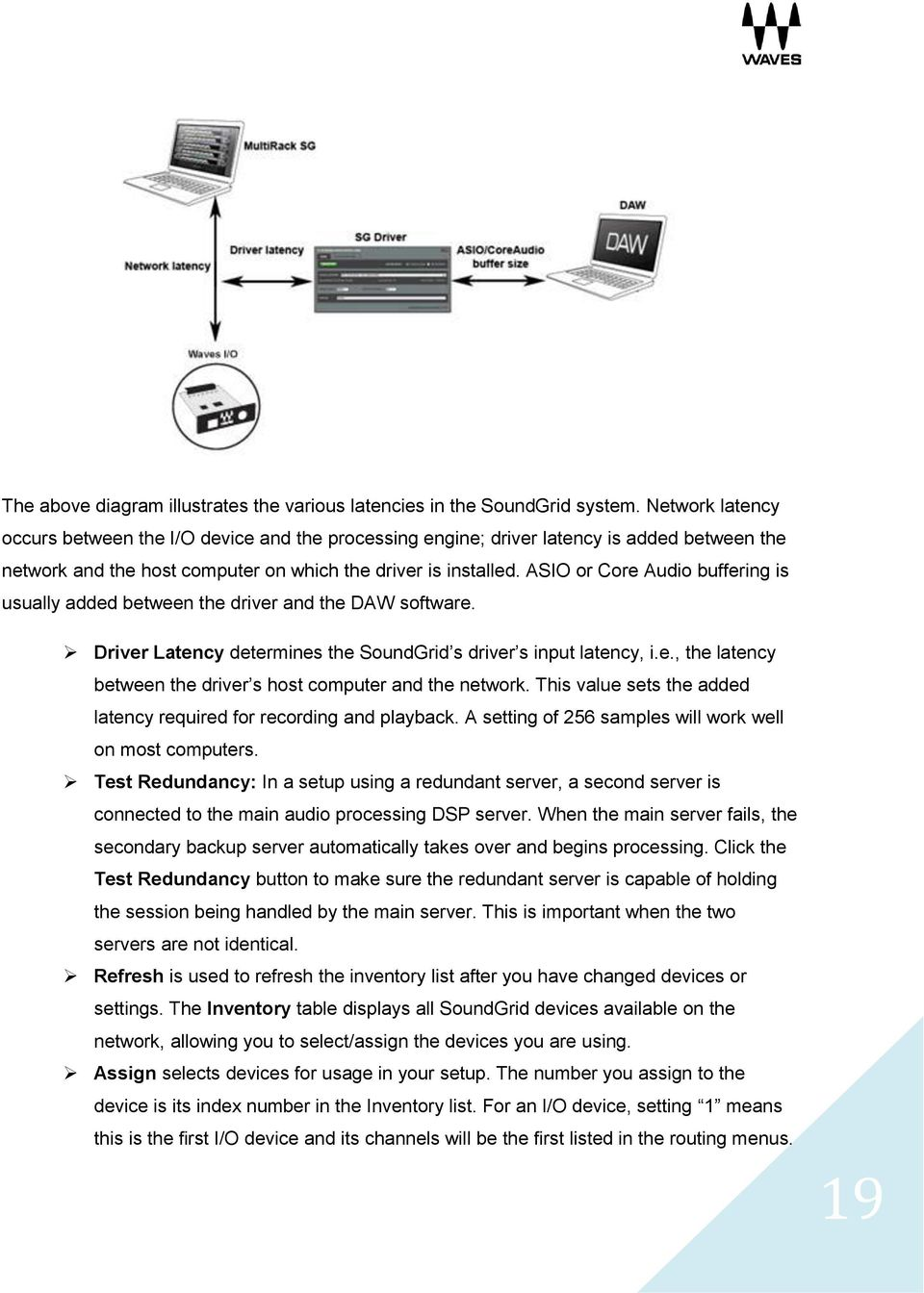 ASIO or Core Audio buffering is usually added between the driver and the DAW software. Driver Latency determines the SoundGrid s driver s input latency, i.e., the latency between the driver s host computer and the network.