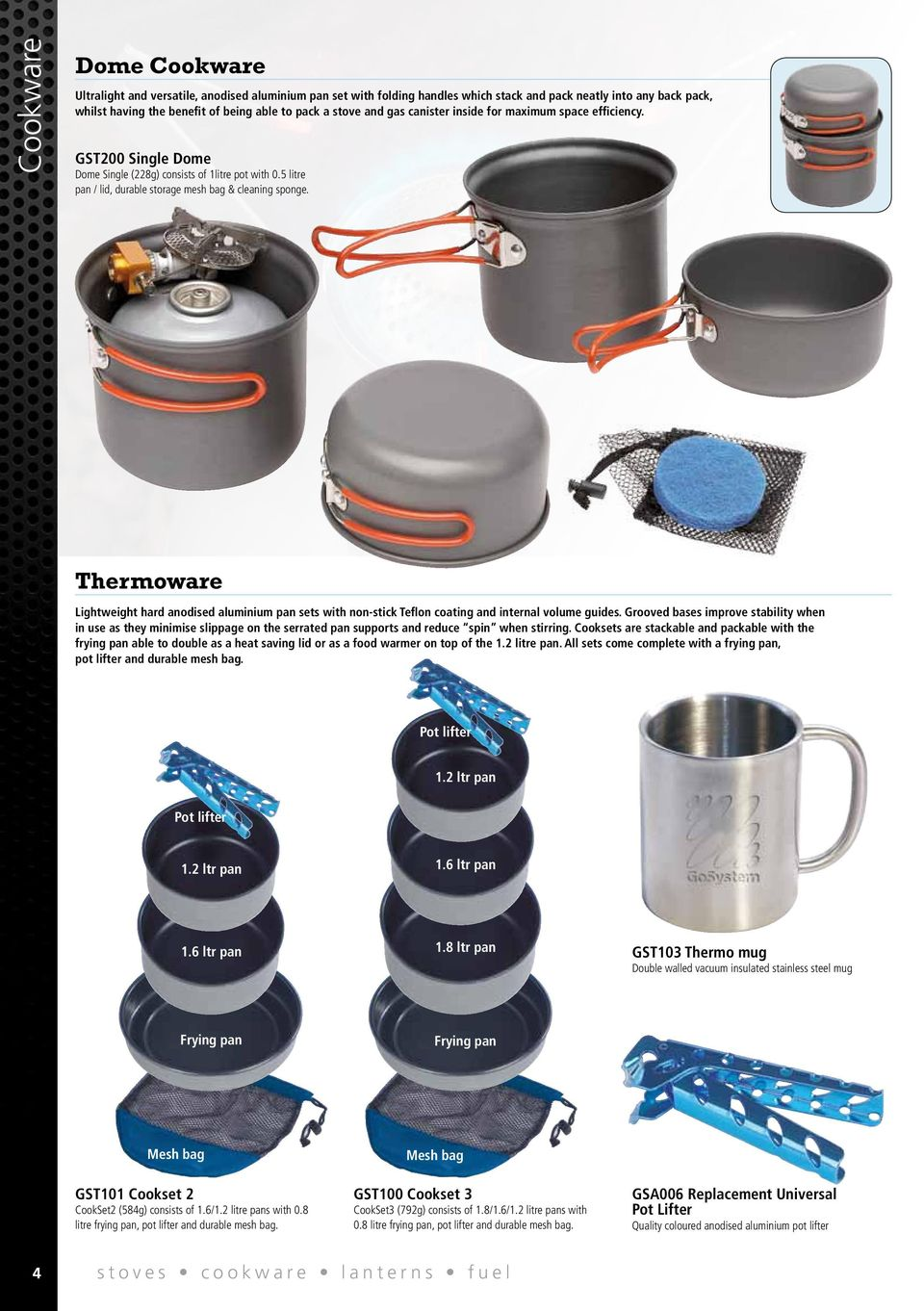 Thermoware Lightweight hard anodised aluminium pan sets with non-stick Teflon coating and internal volume guides.