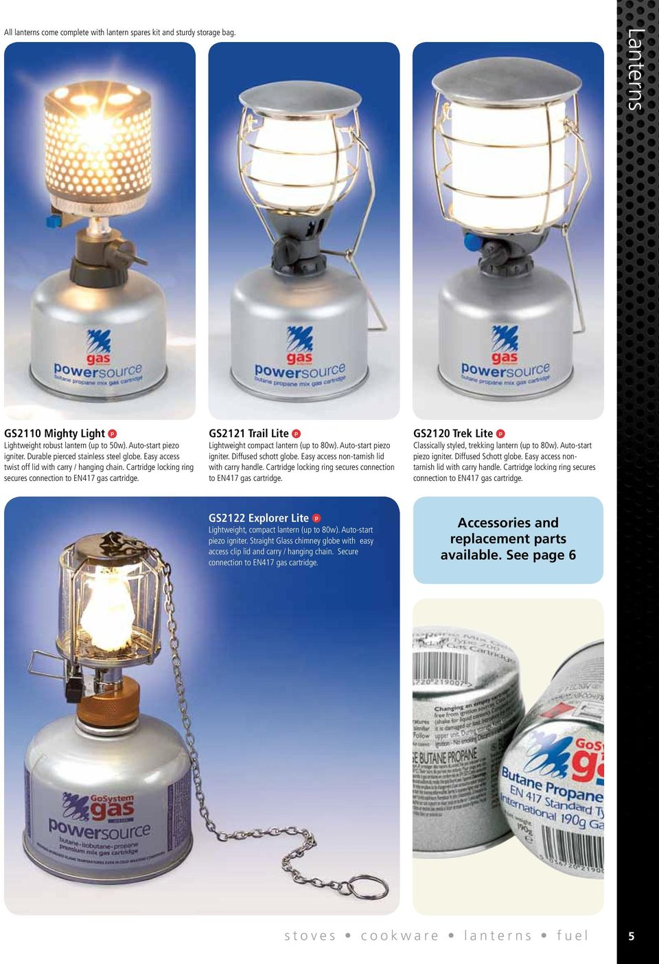GS2121 Trail Lite p Lightweight compact lantern (up to 80w). Auto-start piezo igniter. Diffused schott globe. Easy access non-tarnish lid with carry handle.